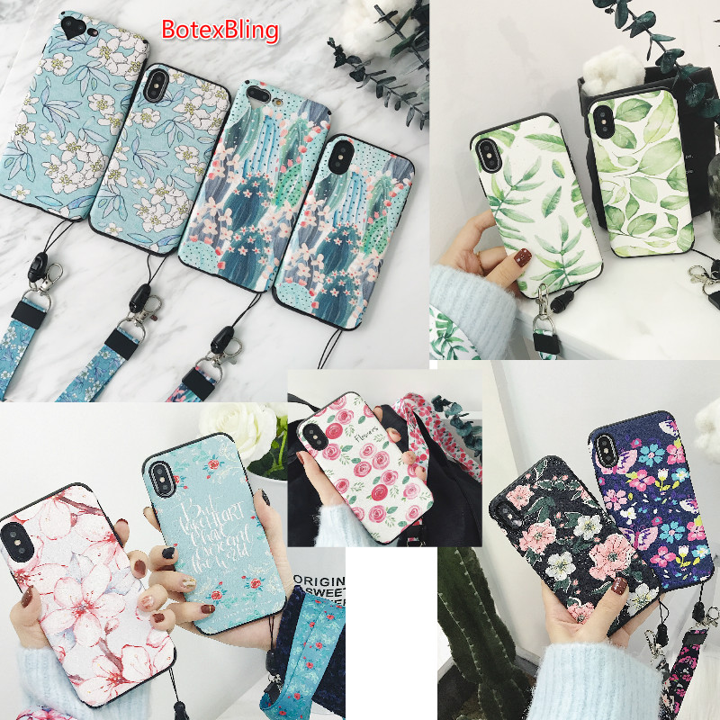BotexBling Summer floral simple plant soft silicone <font><b>phone</b></font> <font><b>case</b></font> for iphone X 7 7plus 8 8plus 6 6s plus 6plus lanyard hanging <font><b>neck</b></font>