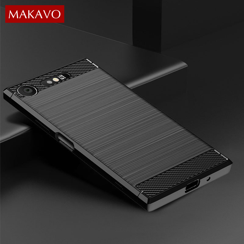 For Sony <font><b>Xperia</b></font> XZ1 Compact <font><b>Case</b></font> Simple Brushed Silicone Carbon Fiber Texture Back Cover <font><b>Case</b></font> For Sony <font><b>Xperia</b></font> <font><b>1</b></font> 5 10 Plus image