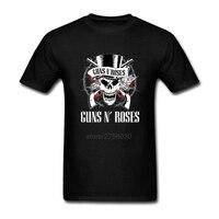 Fashion 2017 Shirts Mens T Shirts hip hop Short Sleeve Clothes Guns N Roses Skull Rock Roll Bullet Mens Round Collar Tee Shirts