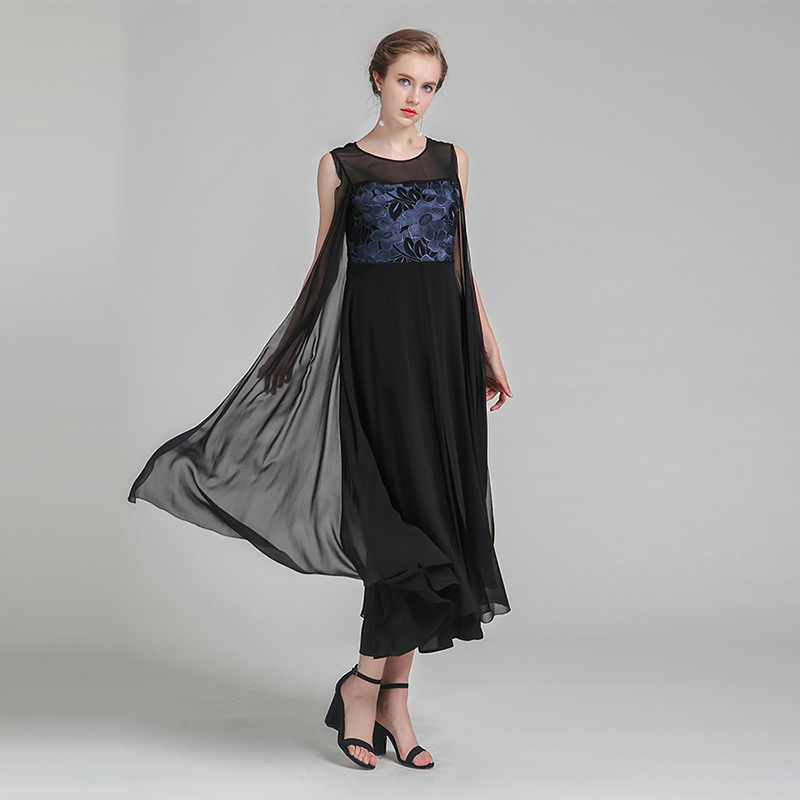 Aliexpress.com : Buy VOA Plus Size Silk Mesh Embroidery Swing Dress Brief  Vintage Black Casual Sleeveless Women Maxi Long Dress Summer ALA00801 from  ...