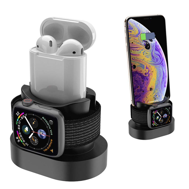 2 In 1 Charging Dock Station For Iphone X Iphone XS Iphone 8 Charge Base For Apple Watch 4 3 2 Nightstand Charge Stand Holder