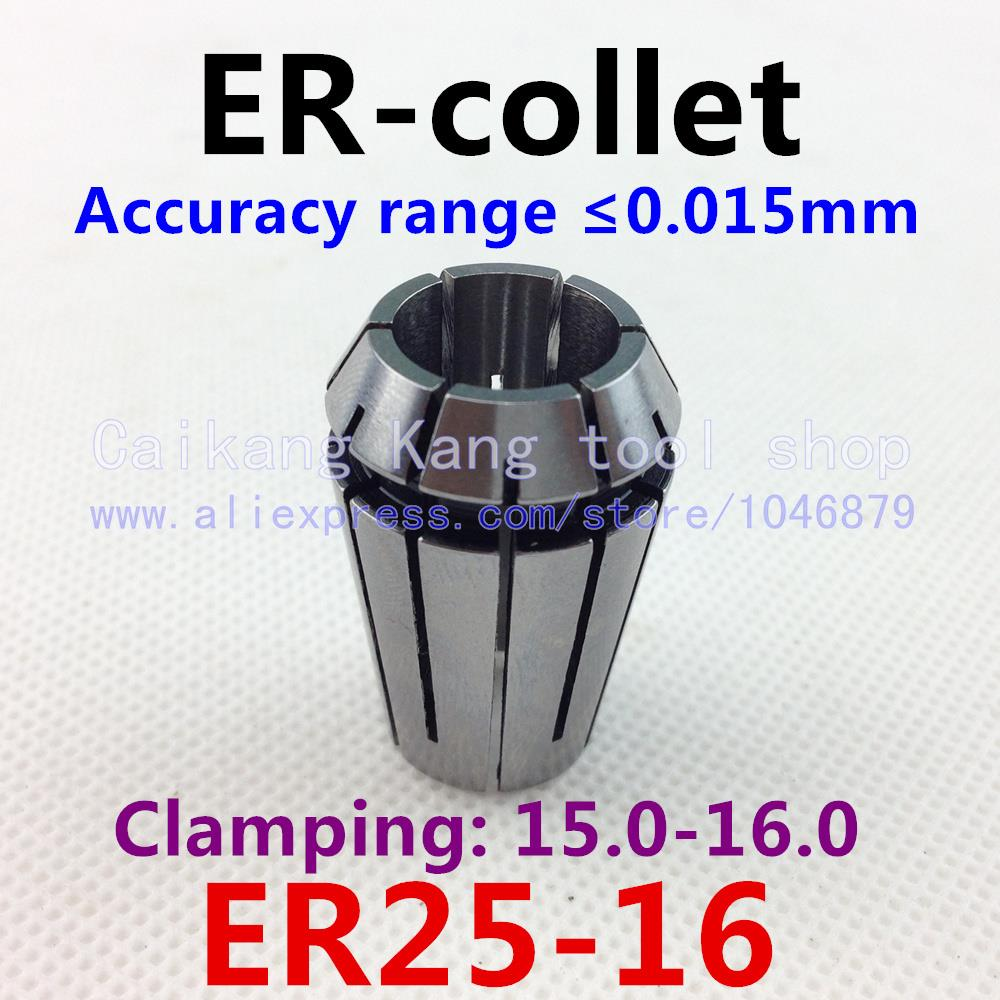 ER25-16 . ER collet. Collet. Material: 65 Mn spring steel. Accuracy: 0.015mm. Clamping range: 15-16mm. Specifications: ER25-16