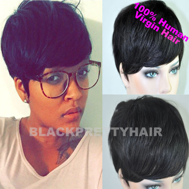 Cheap Short Pixie Cut Human Natural Black Brazilian Hair