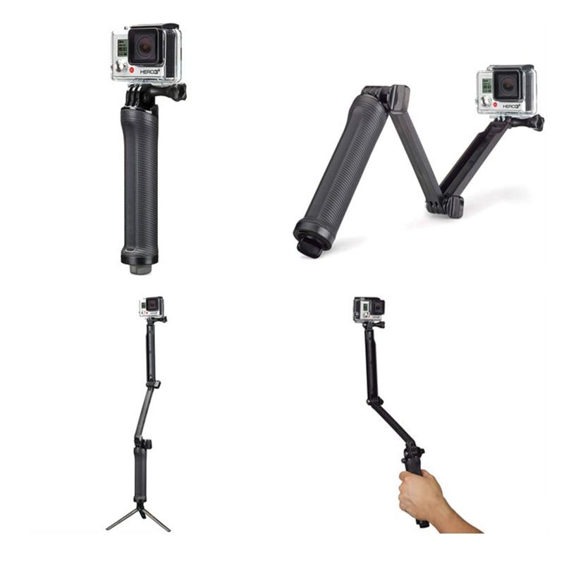 for Gopro Accessories Tripod 3 Way Monopod Mount Extension Arm Tripod for Gopro Hero 6 5 4 3+ for xiaomi yi SJ4000 Selfie Grip
