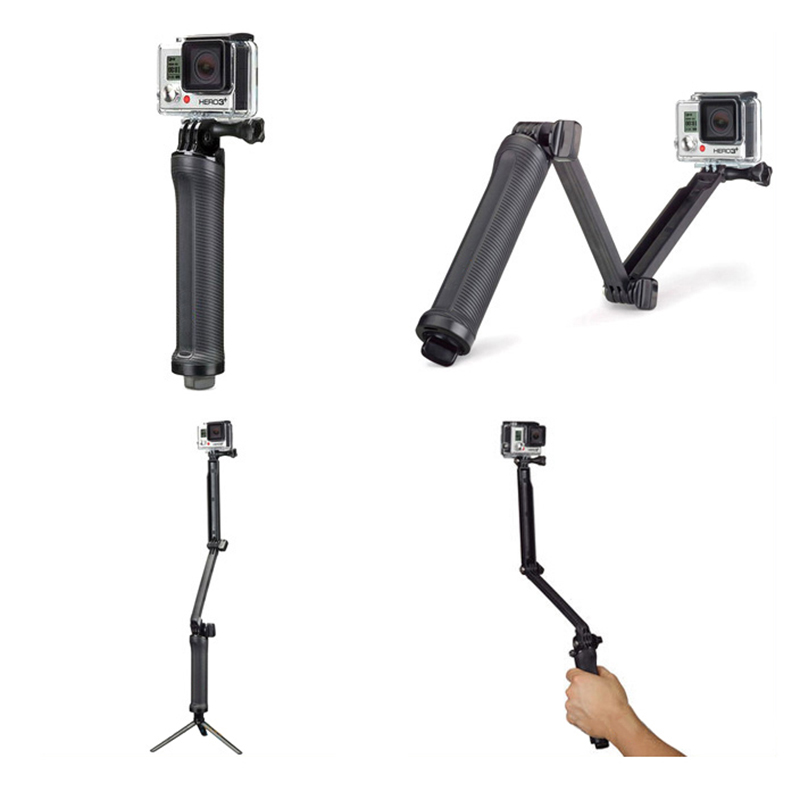 for Gopro Accessories Tripod 3 Way Monopod Mount Extension Arm Tripod for Gopro Hero 6 5 4 3+ for xiaomi yi SJ4000 Selfie Grip