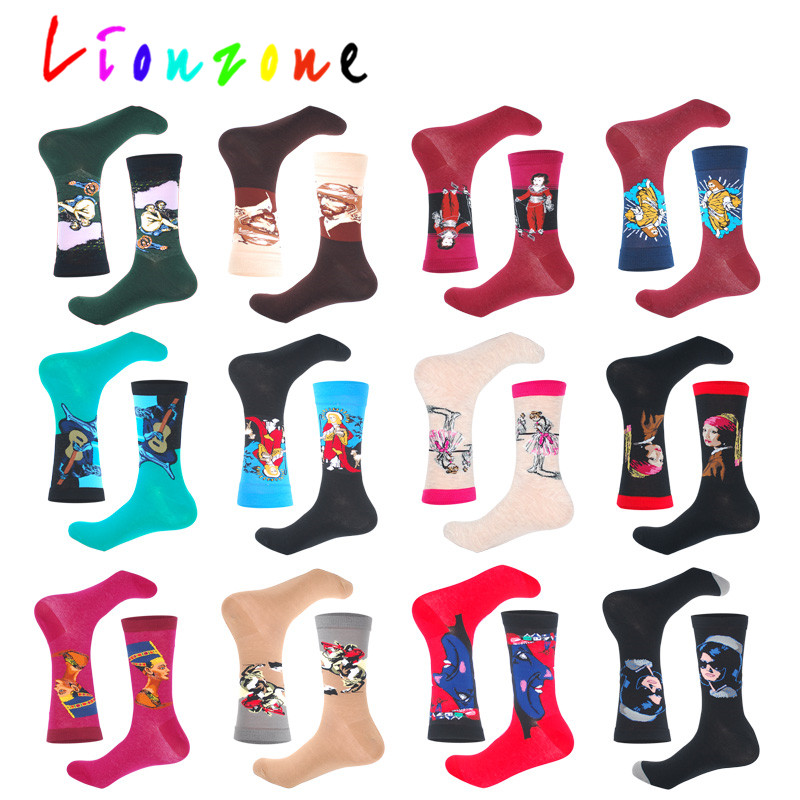 LIONZONE Classic Art Socks Oil Painting Design For Unisex Jesus Pharaoh Queen Character Patterns Funny Happy Socks Cotton