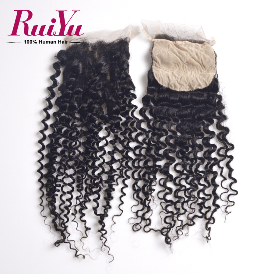 ФОТО Malaysian Virgin Hair Kinky Curly Silk Base Closure 7A Unprocessed Human Hair Free Part Kinky Curly Silk Closure No Shedding