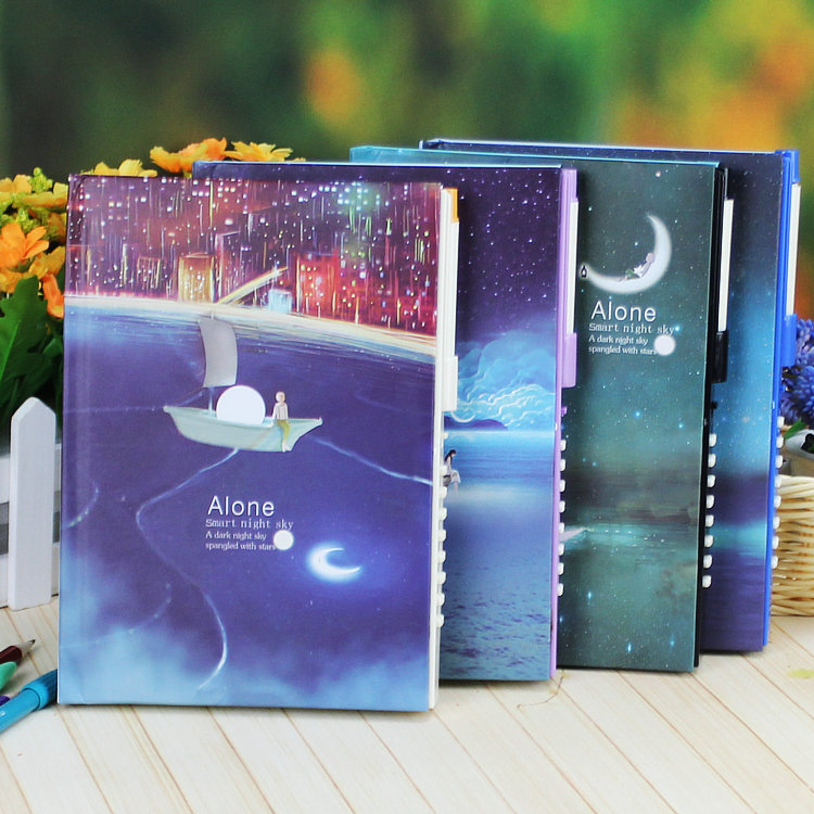Fashion Night Notebook Korea Stationery Luminous Password Diary Lock Notepad Moonnight Alone Style Journal Diary Student Agenda a5 fashion business notepad lock password leather notebook diary of charge to an account notebook