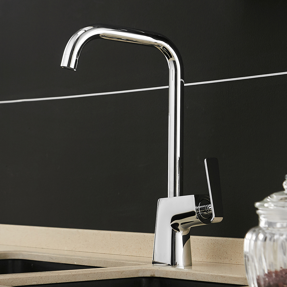 Kitchen Faucets Brass Kitchen Sink Water Faucet 360 Rotate Swivel Faucet Mixer Single Holder Single Hole Black Mixer Tap 866121