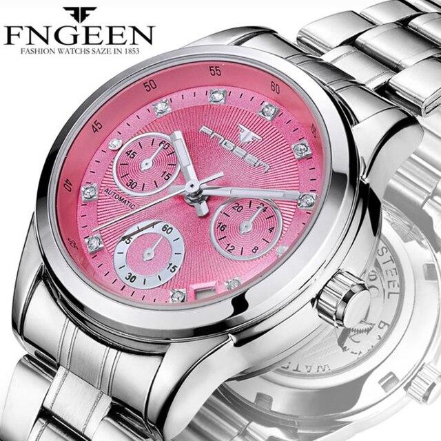 Reloj mecánico automático para mujer, cronógrafos para mujer, FNGEEN, reloj de negocios informal con fecha, reloj de vestir para mujer 2020