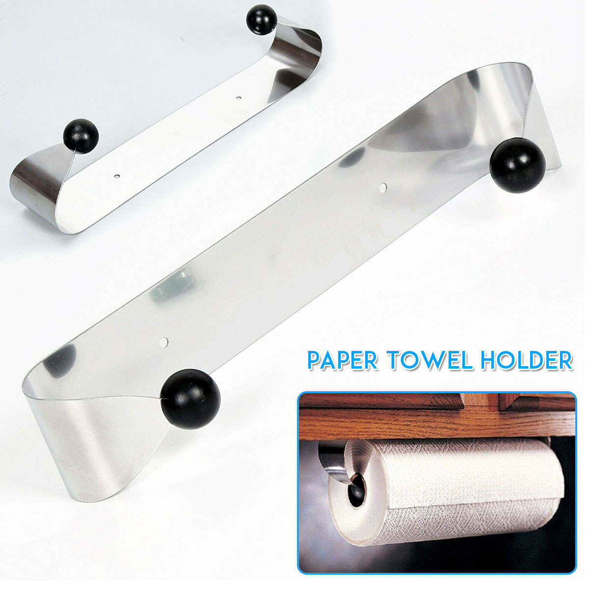 New 1PCS Stainless Steel Kitchen Roll Rack Adhesive Paper Towel Holder Tissue Storage Organizer Kitchen Paper Holders