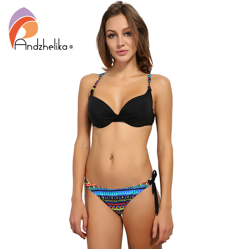 Andzhelika Bikini 2018 New Women Summer Swimsuit Vintage Bottoms Sexy Bikini Sets Swim Suit Beach Bathing Suit Brazilian Biquini sexy printed bikini set black white check brazilian women swiming swimsuit tops and bottoms thread straps swim bathing suit