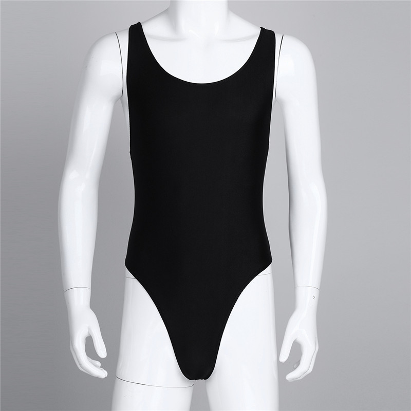 MSemis Men One-piece High Cut Bodysuit Leotard Singlet Underwear Sleeveless Bodysuit Com Bojo Thong Leotard With Bulge Pouch New
