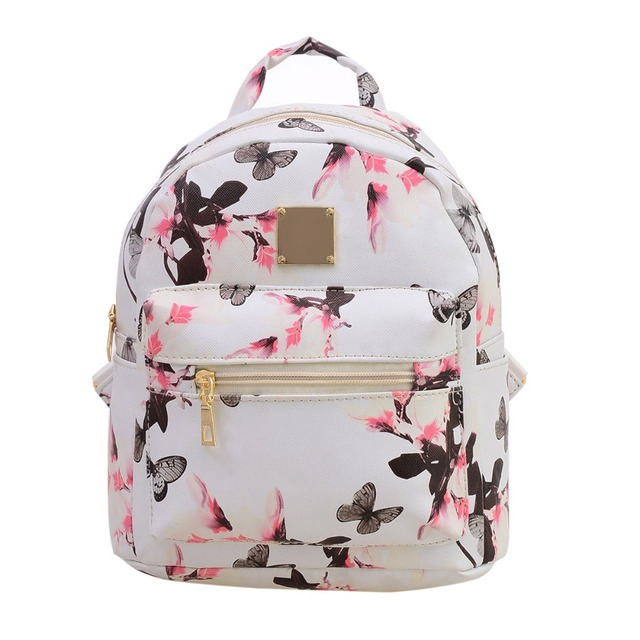 2017 Fashion Women Floral Printing Leather Backpack School Bags ...
