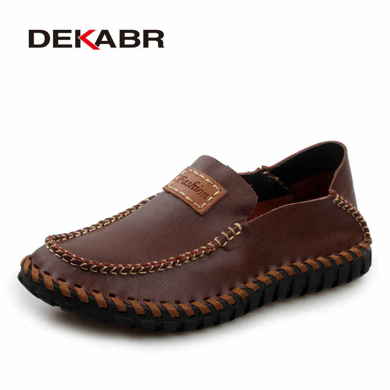 DEKABR Handmade Genuine Leather Men Loafers Brand 2020 Design Soft Moccasins Summer Shoes Men Breathable Flats Men Casual Shoes