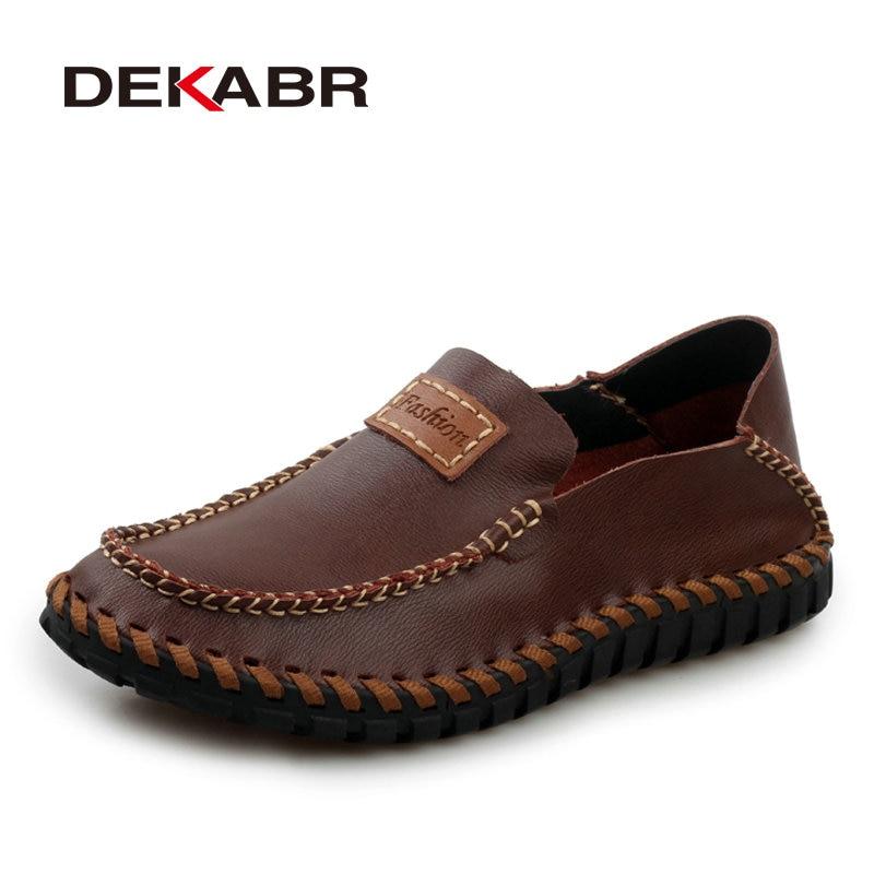 DEKABR Handmade Genuine Leather Men Loafers Brand 2018 Design Soft Moccasins Summer Shoes Men Breathable Flats Men Casual Shoes stylish men s casual shoes with buckle and breathable design