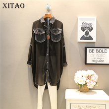 [XITAO] Korea fashion 2017 new spring female long sleeve chiffon patchwork jean turn down collar blouse street wide shirt ATT029