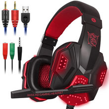 Lampu LED Gaming Headset untuk PS4 PC XBOX ONE Stereo Surround Sound Kebisingan Membatalkan Kabel Gamer Headphone dengan MIC Auriculares(China)