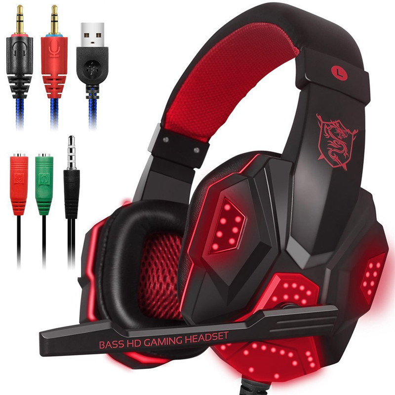 Led-leuchten Gaming Headset für PS4 PC Xbox one Stereo Surround Sound Noise Cancelling Wired Gamer Kopfhörer Mit Mic auriculares