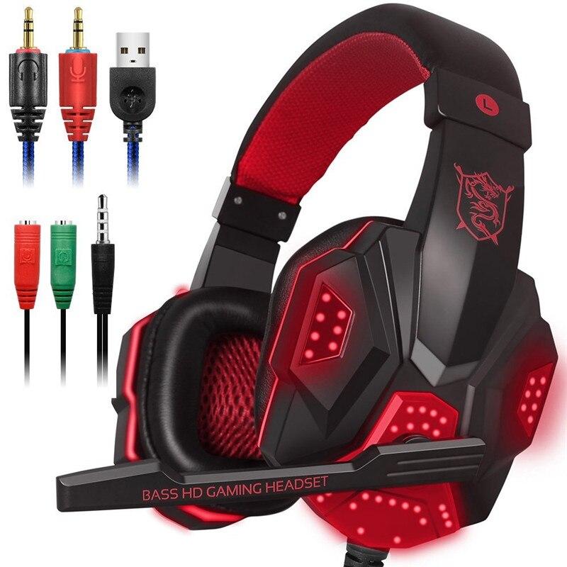 Luces LED de juego de auriculares para PS4 PC estéreo de sonido envolvente de oído ruido cancelación de Auriculares auriculares con micrófono auriculares
