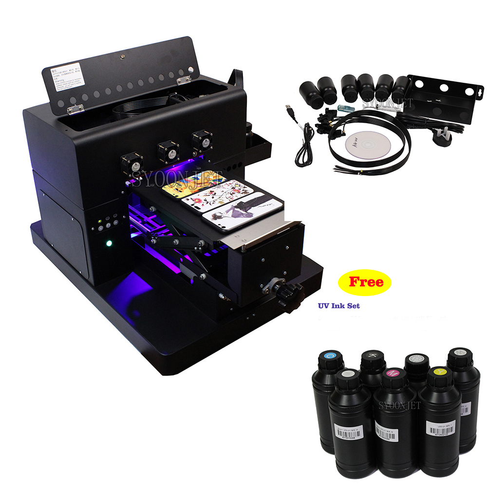 A4 Size UV Flatbed Printer With Free UV Ink Set For Phone Cover Glass Metal Leather 3D Emboss Printing