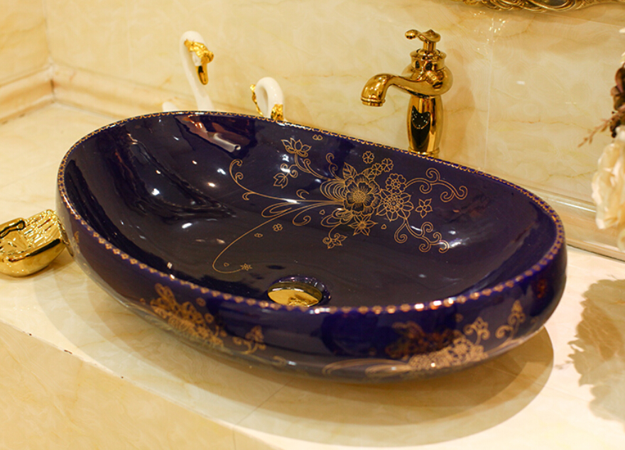 Овальный Ванная комната Lavabo Керамика столешницей умывальника гардероб ручная роспись сосуд Раковина 5055