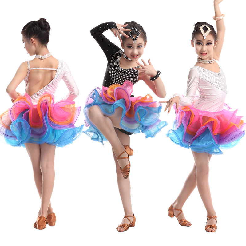 The New Children's Latin Dance dress Latin Competition Clothing kid's Professional dancing dresses Girls Salsa Dresses