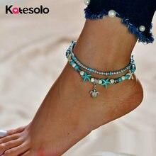 Ножные браслеты Многослойные женские анклеты с бусинами в виде