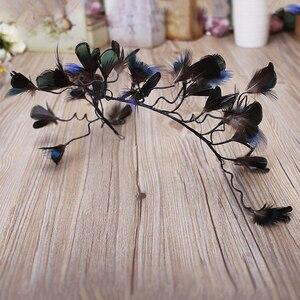 Image 5 - Haimeikang nowe barokowe pióra do włosów opaska stroik panna młoda paw Lupin Tiara dzikie Cheongsam świąteczne akcesoria do włosów