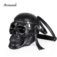 Arsmundi Originality Women Bag Funny Skeleton Head Black handbad Men Single Package Fashion Designer Satchel Package Skull Bags
