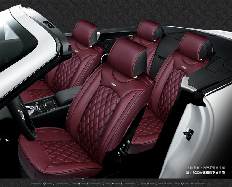 luxury black waterproof soft diamond pu leather car seat covers easy clean front &rear full seat cover car accessories interior