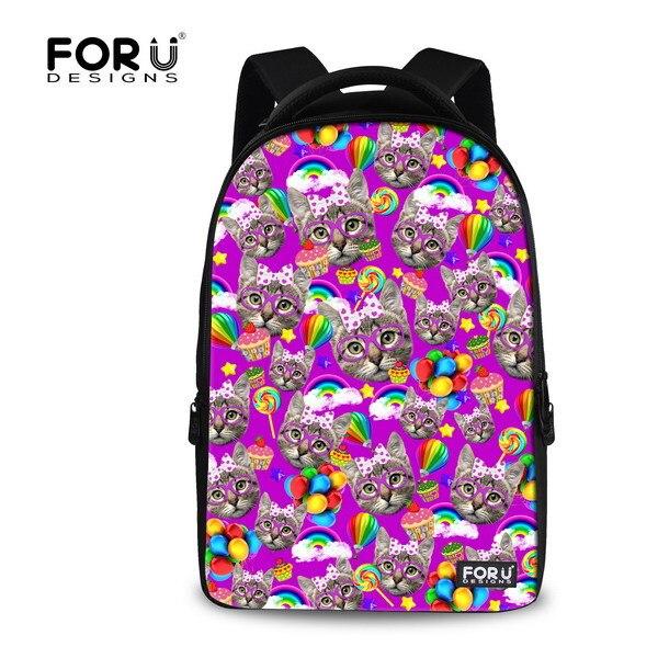 Kawaii Women 3D Animal Backpack Children School Bags Cat Printing Womens Travel Bag Schoolbag for Girls Students Book Bags