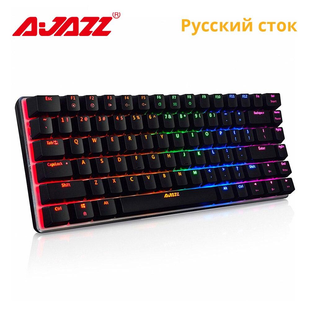 Ajazz AK33 82 touches clavier mécanique disposition russe/anglais clavier de jeu rvb rétro-éclairage bleu/noir commutateur clavier filaire