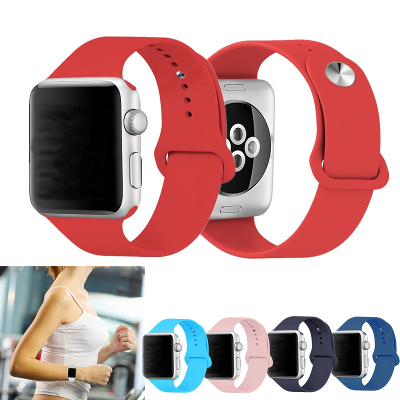Soft Silicone Replacement Band for Apple Watch Series 1 2 3 Fashion Wrist Strap Wristband For iWatch Belts 12 Colors Available eache silicone watch band strap replacement watch band can fit for swatch 17mm 19mm men women