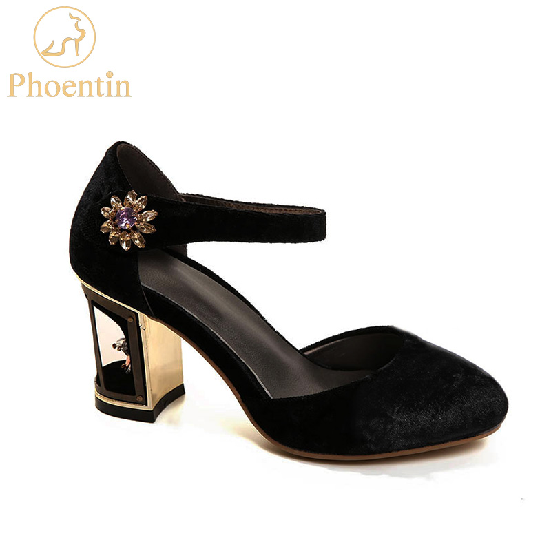 Phoentin party mary janes ladies 2019 new arrival velvet crystal flower woman shoes bird cage metal