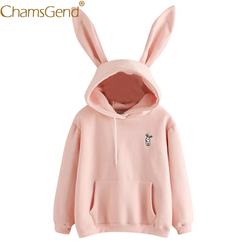 Hoodies Rabbit Sweatshirts Front-Pocket Warm Winter Women Ear With 80816 Sudadera