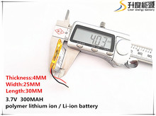 5pcs [SD] 3.7V,300mAH,[402530] Polymer lithium ion / Li-ion battery for TOY,POWER BANK,GPS,mp3,mp4,cell phone,speaker