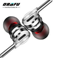 Obafu Professional In-ear Earphone Metal Heavy Bass HIFI Stereo Sound Music Earbud Headset With Mic Subwoofer 3.5mm Headphones