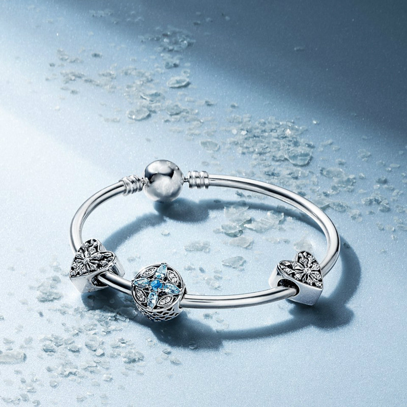 c31bcd3eb3 DERMSPE S925 Silver Christmas Snowflake Set Bangle Fit DIY Original Jewelry  925 Sterling Silver Woman Bracelets Birthday Gift
