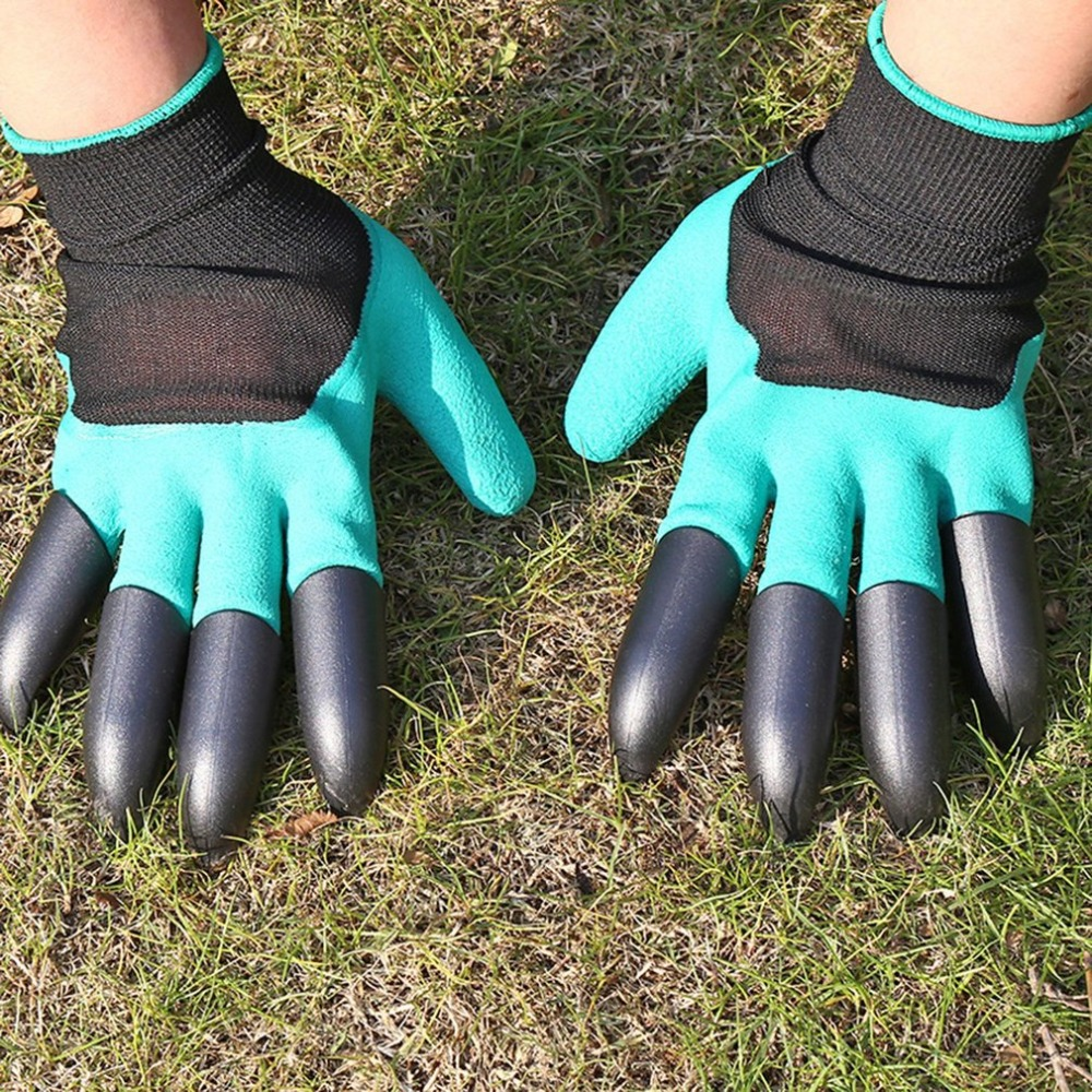 LESHP Garden Gloves Fingertips Claws Planting Gloves Quick Easy to Dig and Plant Safe Gloves Full Finger Mittens Digging Gloves new garden gloves for digging