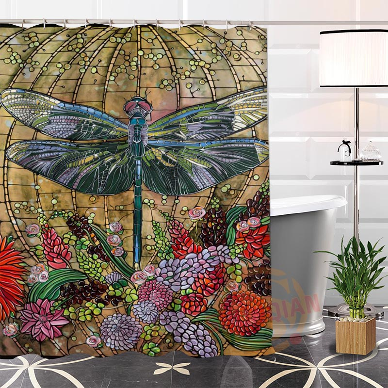 New Eco-friendly Custom Unique Colorful dragonfly Fabric Modern Shower Curtain bathroom With Hooks for yourself H0220-11