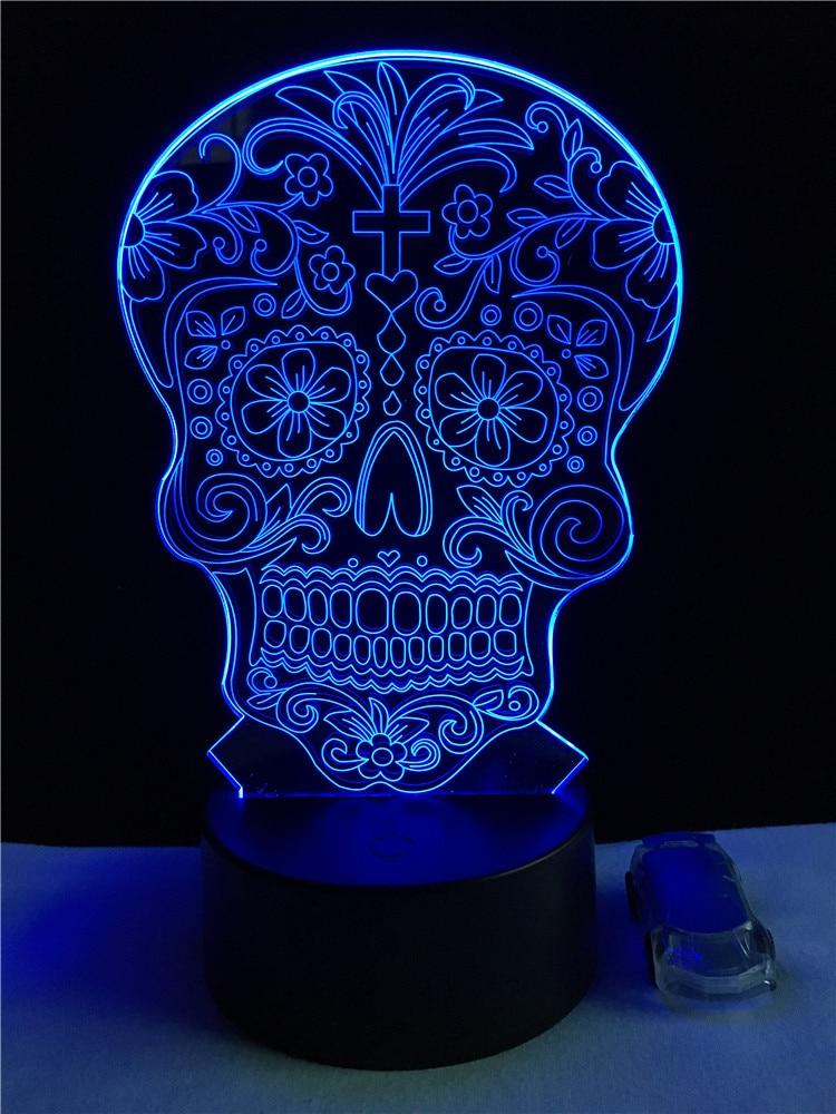 Luzes da Noite toque colorida 3d crânio cabeça Lâmpadas Incluídas : Sim