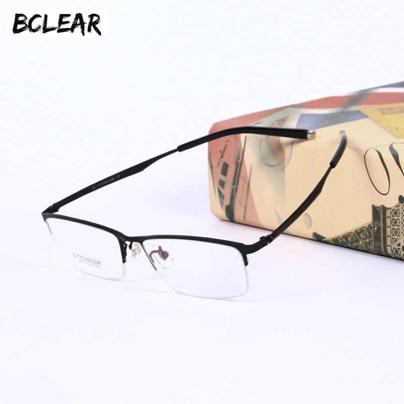 117165ec9819 BCLEAR 2018 Fashion Titanium Spectacle Frames Pure Titanium Half Rim  Eyeglasses Frame Ultralight Men s Casual Business