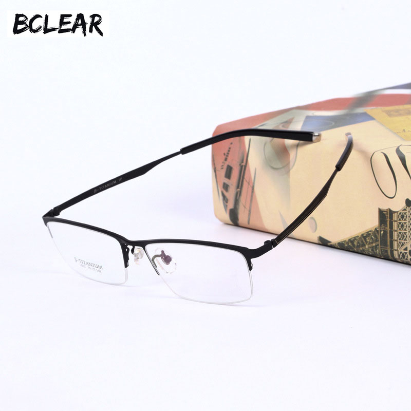 BCLEAR 2018 Fashion Titanium Spectacle Frames Pure Half Rim Eyeglasses Frame Ultralight Mens Casual Business Glasses