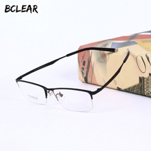 BCLEAR 2018 Fashion Titanium Spectacle Frames Pure Half Rim Eyeglasses Frame Ultralight Mens Casual Business Glasses