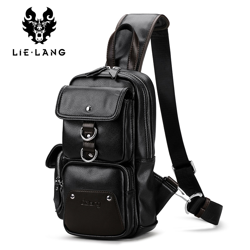 LIELANG Leather Crossbody Bags for Men Messenger Chest Bag 2017 New Fashion Casual Bag Waterproof PU Single Shoulder Bags