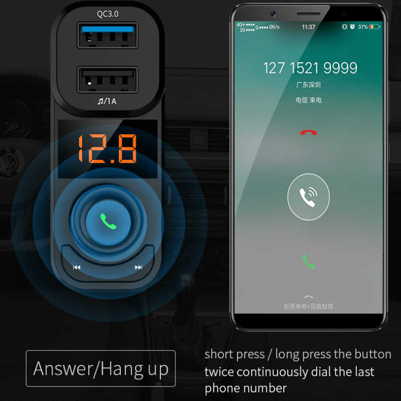 KORSEED, автомобильный Bluetooth комплект, телефон, громкая связь, беспроводной Carkit QC3.0, быстрое USB зарядное устройство, fm-передатчик, модулятор, Авто Аудио, Mp3 плеер