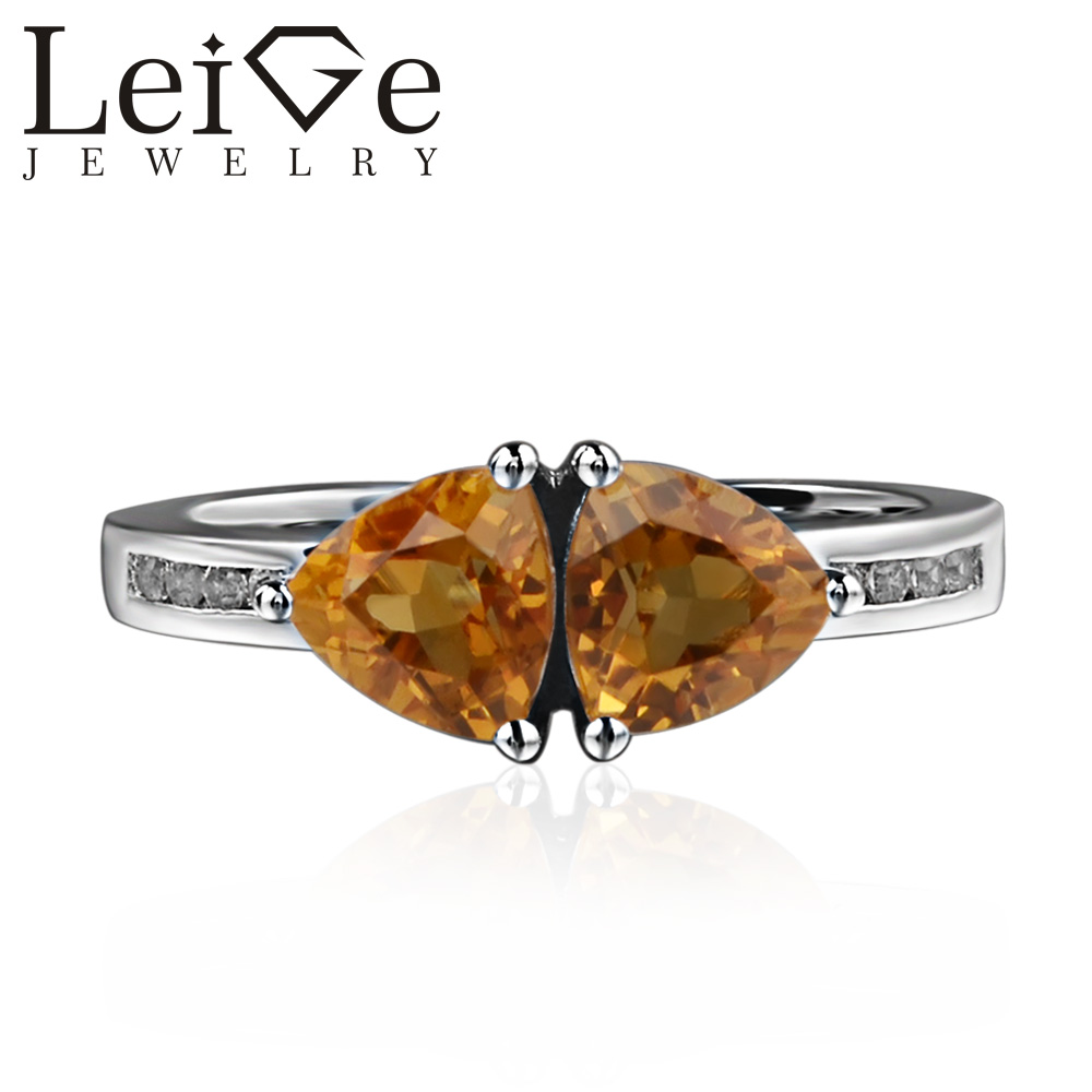 925 Silver Real Citrine Ring Trillion