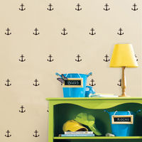 36 Pcs Tiny Anchor Pattern Removable Wall Sticker Decal Vinyl For Kid Room Art Decor Mural