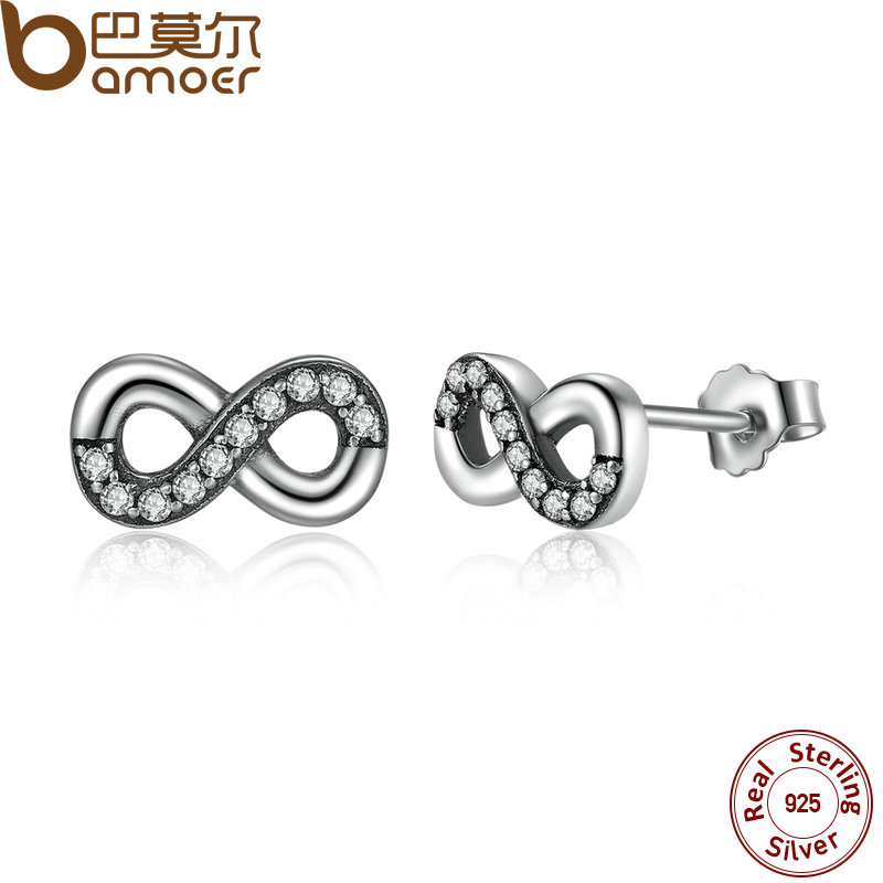 BAMOER High Quality 925 Sterling Silver Infinite Love Clear CZ Knot Earrings for Women Fine Jewelry